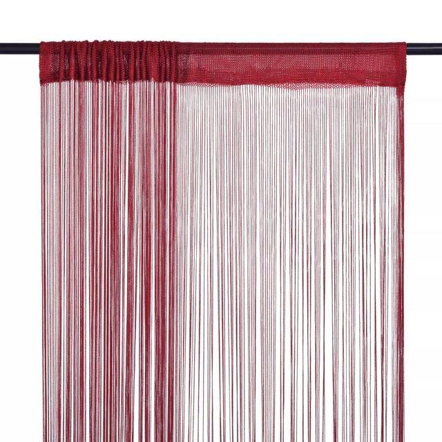 Draperii cu franjuri, 2 buc., 100 x 250 cm, roșu burgund foto mare