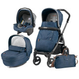 Carucior 3 In 1, Peg Perego, Book Plus 51 S, Black, Completo Elite Urban Denim, Peg Perego