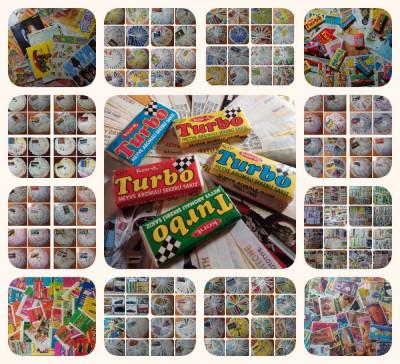 Un număr mare de inserturi, împachetări, autocolante din gumă de meste foto