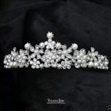 Diadema / coroana / tiara mireasa cu perle si cristale tip Swarovski