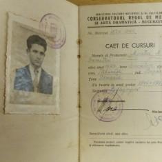 BDA S1 - CAET DE CURSURI - CONSERVATORUL REGAL - 1946 - PIESA DE COLECTIE