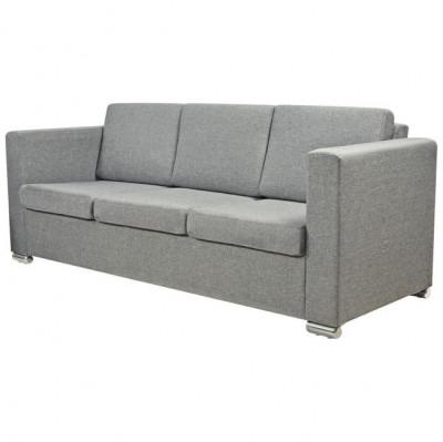 Canapea pentru 3 persoane, material textil, gri deschis foto