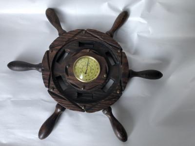 Termometru vechi,francez,din lemn,in forma de timona de corabie foto
