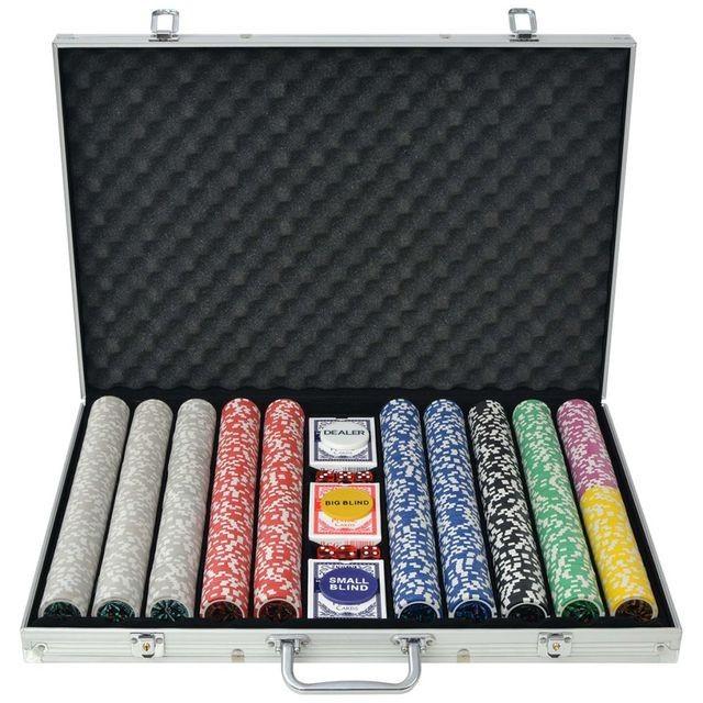 Set de poker cu 1000 de jetoane cu laser din aluminiu foto mare