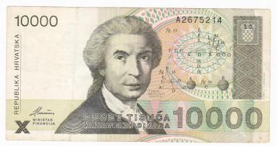 CROATIA 10000 dinari 1992 CF P-25 foto