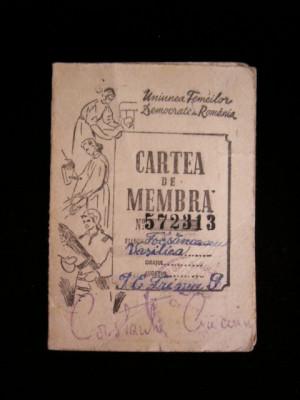 BDA S4 - CARNET MEMBRU - UNIUNEA FEMEILOR DEMOCRATE - 1950 - PIESA DE COLECTIE foto