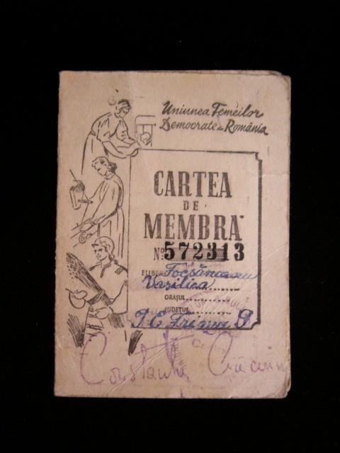 BDA S4 - CARNET MEMBRU - UNIUNEA FEMEILOR DEMOCRATE - 1950 - PIESA DE COLECTIE foto mare