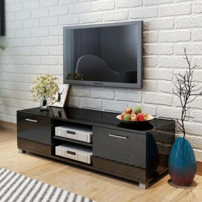 Comoda TV lucioasa, 120 x 40,3 x 34,7 cm, alb foto