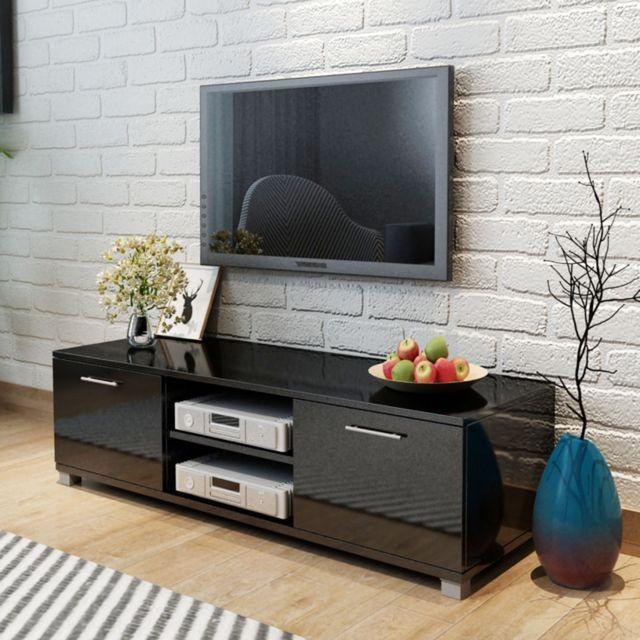 Comoda TV lucioasa, 120 x 40,3 x 34,7 cm, alb foto mare