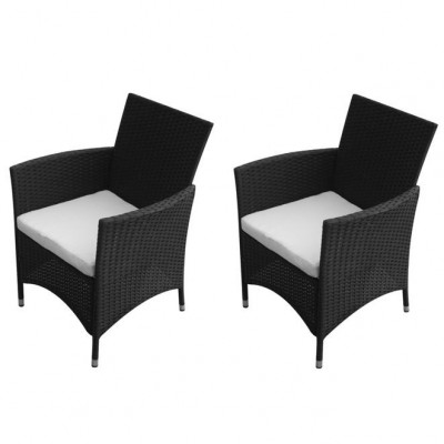 Set scaune de gradina din poliratan, negre, 2 buc. foto