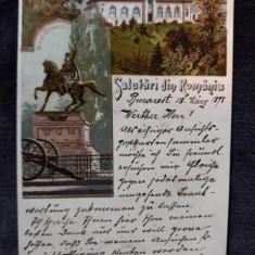 SALUTARI DIN ROMANIA - LITOGRAFIE 1898 - CIRCULATA CU POSTA LLOYD IN AMERICA