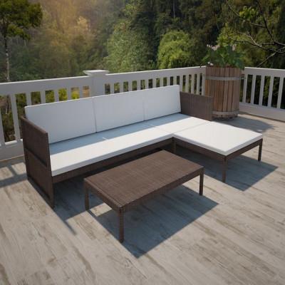 Set mobilier grădină din poliratan maro cu canapea cu 3 locuri foto