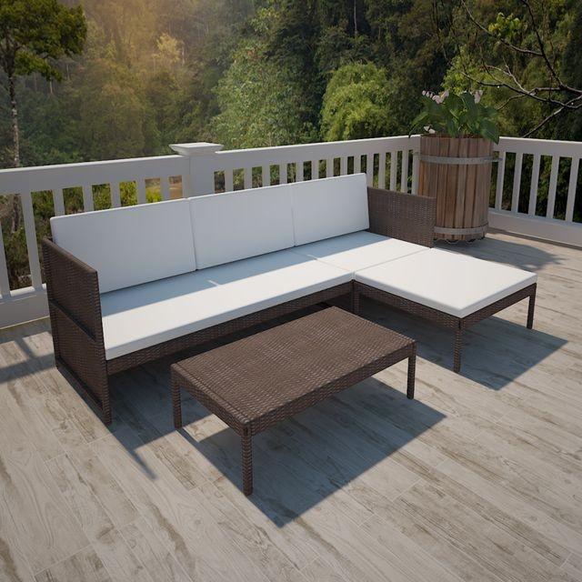 Set mobilier grădină din poliratan maro cu canapea cu 3 locuri foto mare