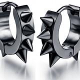 Cercei metal baieti barbati Hoop Spike negru - 1 pereche
