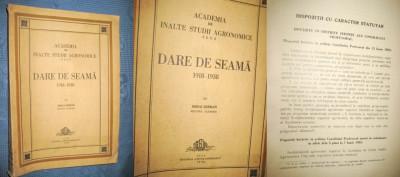 Darea de seama 1938- Academia de Inalte studii agronomice Cluj- 1918- 1938. foto