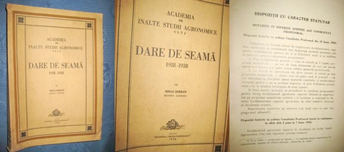 Darea de seama 1938- Academia de Inalte studii agronomice Cluj- 1918- 1938. foto mare