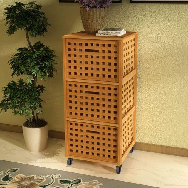 Dulap pentru baie din lemn de nuc solid, 41 x 41 x 93 cm
