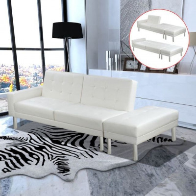 Canapea extensibila din piele artificiala, alb foto