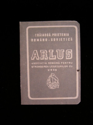 BDA S4 - CARNET MEMBRU - ARLUS  - 1955 - PIESA DE COLECTIE foto