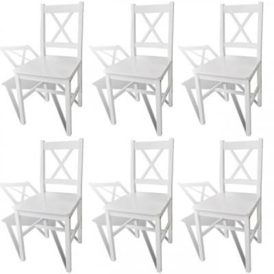 Set 6 scaune bucătărie din lemn Alb foto