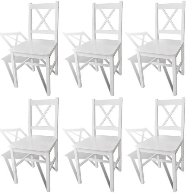 Set 6 scaune bucătărie din lemn Alb foto mare