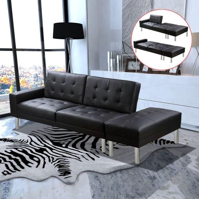 Canapea extensibila din piele artificiala, negru foto mare
