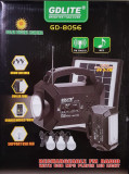 Panou solar fotovoltaic 3 becuri incarcare telefon RADIO mp3 USB GD 8056