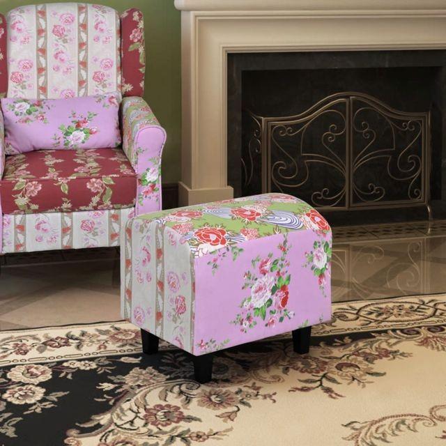 Taburet patchwork cu model floral foto mare