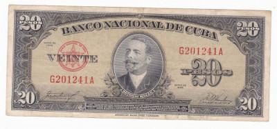 CUBA 20 pesos 1958 VF P-80b foto