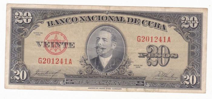 CUBA 20 pesos 1958 VF P-80b