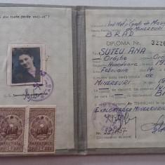 BDA S1 - DIPLOMA DE TEHNICIAN - MINEREURI - 1954 - PIESA DE COLECTIE