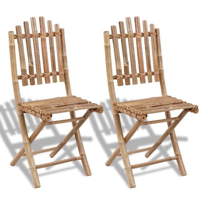 Set 2 scaune pliabile din lemn de bambbus foto mare