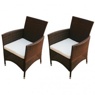 Set scaune de gradina din poliratan, maro, 2 buc. foto
