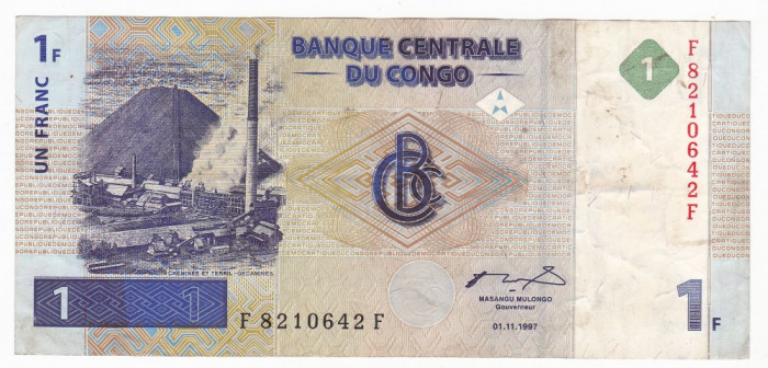 CONGO (Republica Democrata) 1 franc 1997 VF P-85