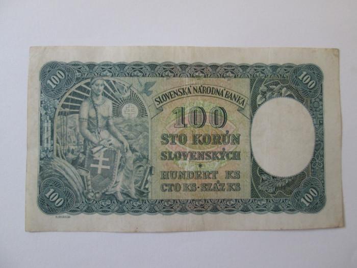 Slovacia 100 Korun 1940 prima emisie foto mare