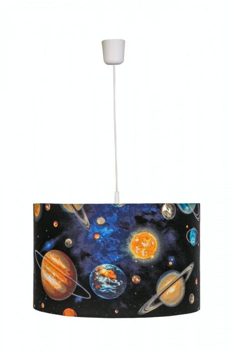 Lustra pendul abajur textil camera copii Univers foto mare