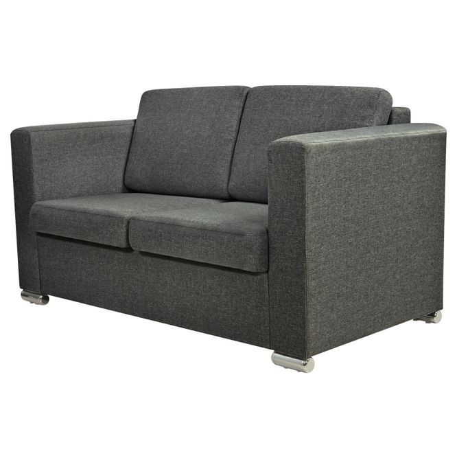 Canapea pentru 2 persoane, gri închis foto mare