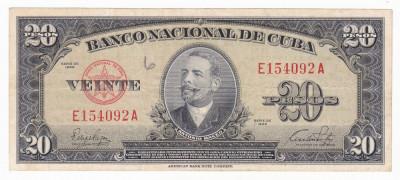 CUBA 20 pesos 1949 VF P-80a foto