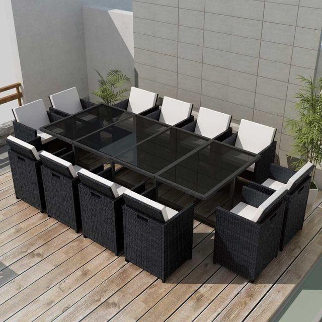Set mobilier de exterior 37 piese, poliratan, negru foto mare