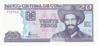 CUBA 20 pesos 2001 UNC P-118c foto