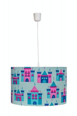 Lustra pendul abajur textil camera copii Blue Castles foto