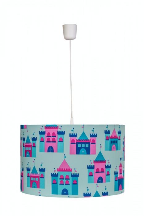 Lustra pendul abajur textil camera copii Blue Castles foto mare