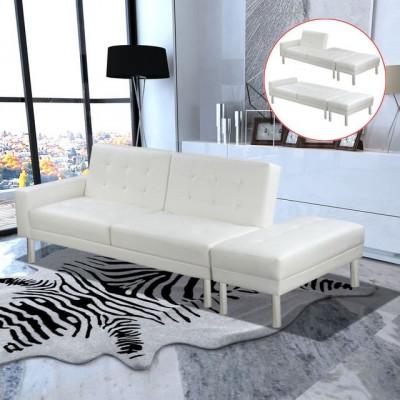 Canapea extensibilă din piele artificială, alb foto