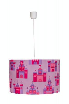 Lustra pendul abajur textil camera copii Pink Castles foto