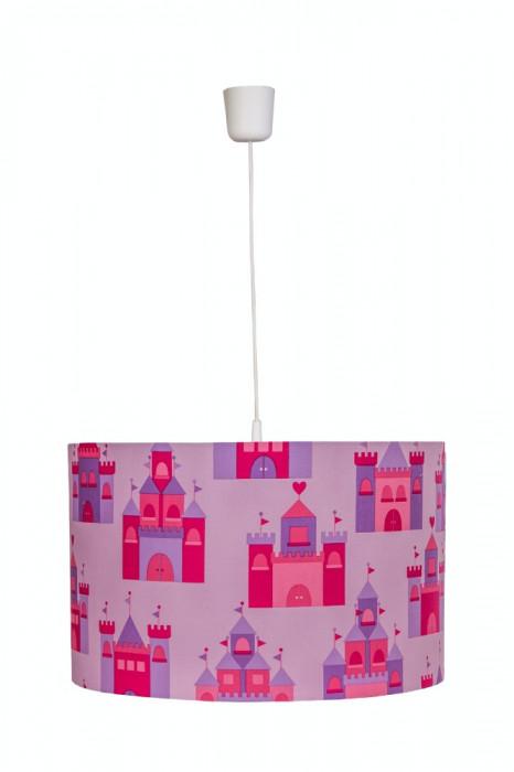 Lustra pendul abajur textil camera copii Pink Castles