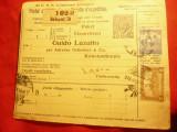 Buletin de Expeditie Ungaria 1918 cu marca 10 filler ,circ.Budapesta-Constantino