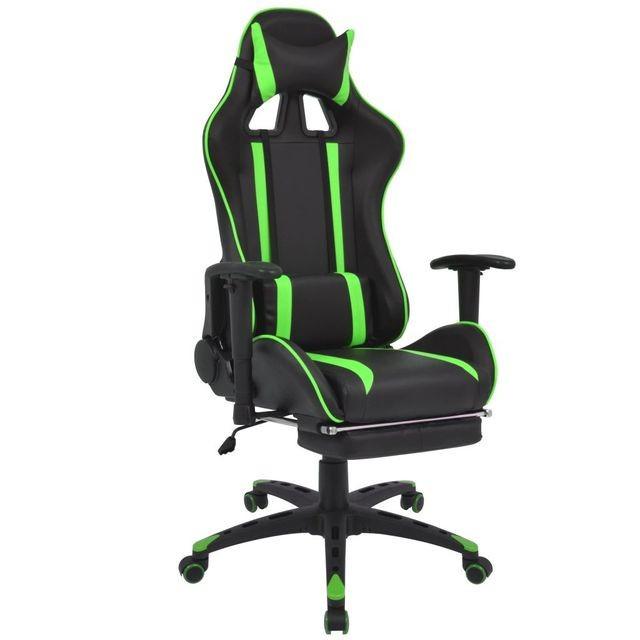 Scaun birou rabatabil, design racing, suport picioare, verde foto mare