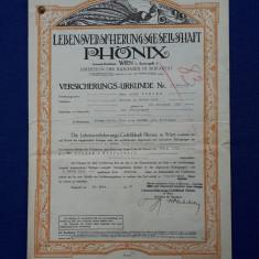"""Polita de asigurare - 1929 - Bukarest - Soc. """" Phonix """" - Wien - Rara"""