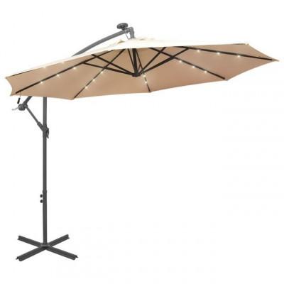 Umbrela soare suspendata, iluminare LED, stalp metalic 300 cm foto