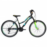 "Bicicleta MTB Umit Adeline Lady, Culoare Negru/Verde, Roata 24"" OtelPB Cod:2448000000"
